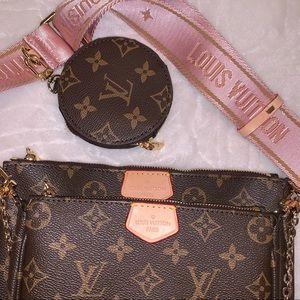 Brown/Pink Monogram Crossbody Bag